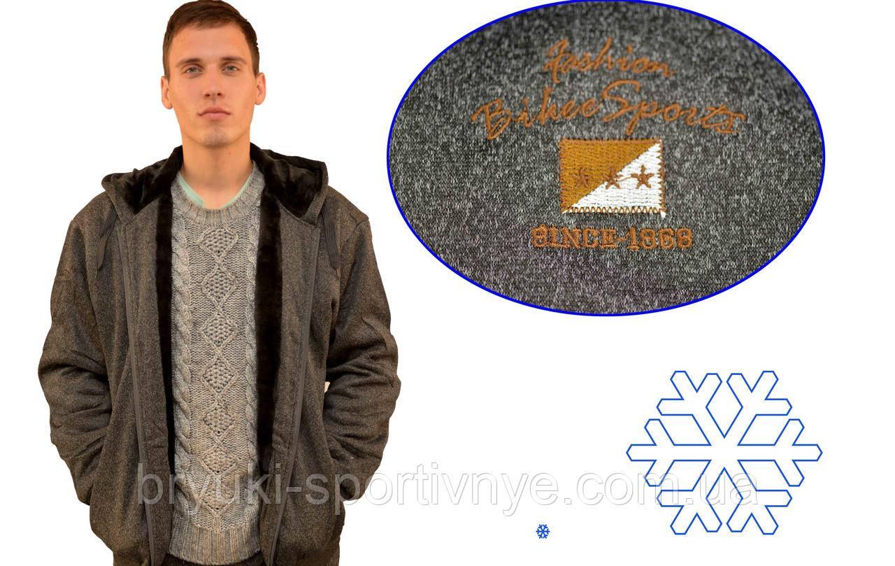 Кофта спортивна чоловіча зимова на хутрі з капюшоном - Байкерський прапор