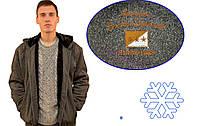 Кофта спортивная мужская зимняя на меху с капюшоном - Байкерский флаг