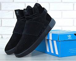 Зимние кроссовки с мехом Adidas Tubular Invader Strap Triple Black