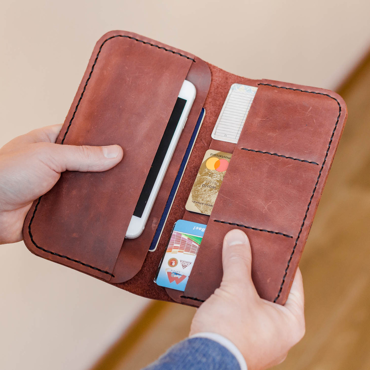 cd5a5bc2da89 Мужской кошелек портмоне из натуральной кожи ручной работы Revier кирпич  для денег и телефона - megastore
