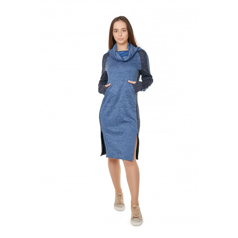 Комбинированное спортивное платье из ангоры меланж