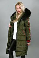 Модное стеганое пальто с мехом 497 (9144)