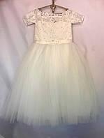 """Детское нарядное платье для девочки 6-7 лет,""""Евросетка"""",кремового цвета, фото 1"""