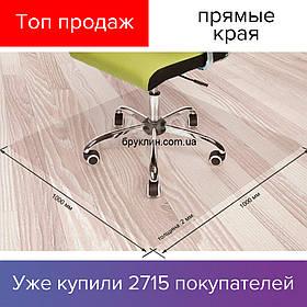 Коврик под кресло Шагрень 100х100см, 2мм. Защитный, подложка под стул, офисное кресло прозрачный