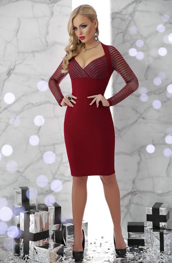 Модное коктейльное платье новогоднее бордо, фото 2