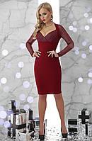 Модное коктейльное платье новогоднее бордо