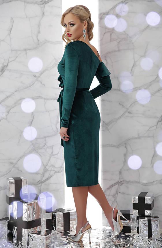 Вечернее велюровое платье с запахом изумрудное, фото 2