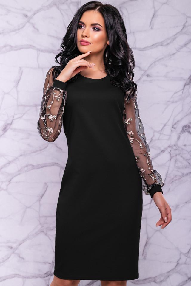 Женское элегантное платье, размер от 44 до 50, чёрное, с вышивкой, праздничное, нарядное, вечернее