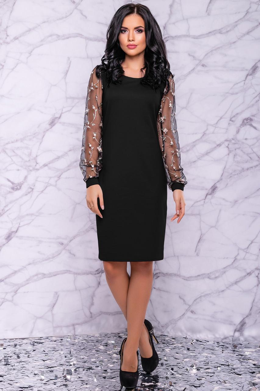 Женское элегантное платье чёрное с вышивкой праздничное нарядное вечернее