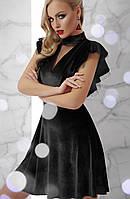 Велюровое короткое новогоднее платье молодежное бордо