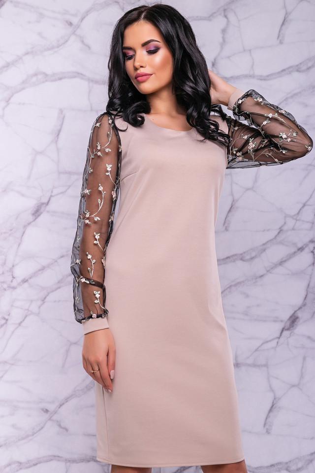 Женское элегантное платье, размер от 44 до 50, бежевое, с вышивкой, праздничное, нарядное, вечернее