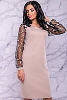 Женское элегантное платье, р. 44,46,50, бежевое, с вышивкой, праздничное, нарядное, вечернее