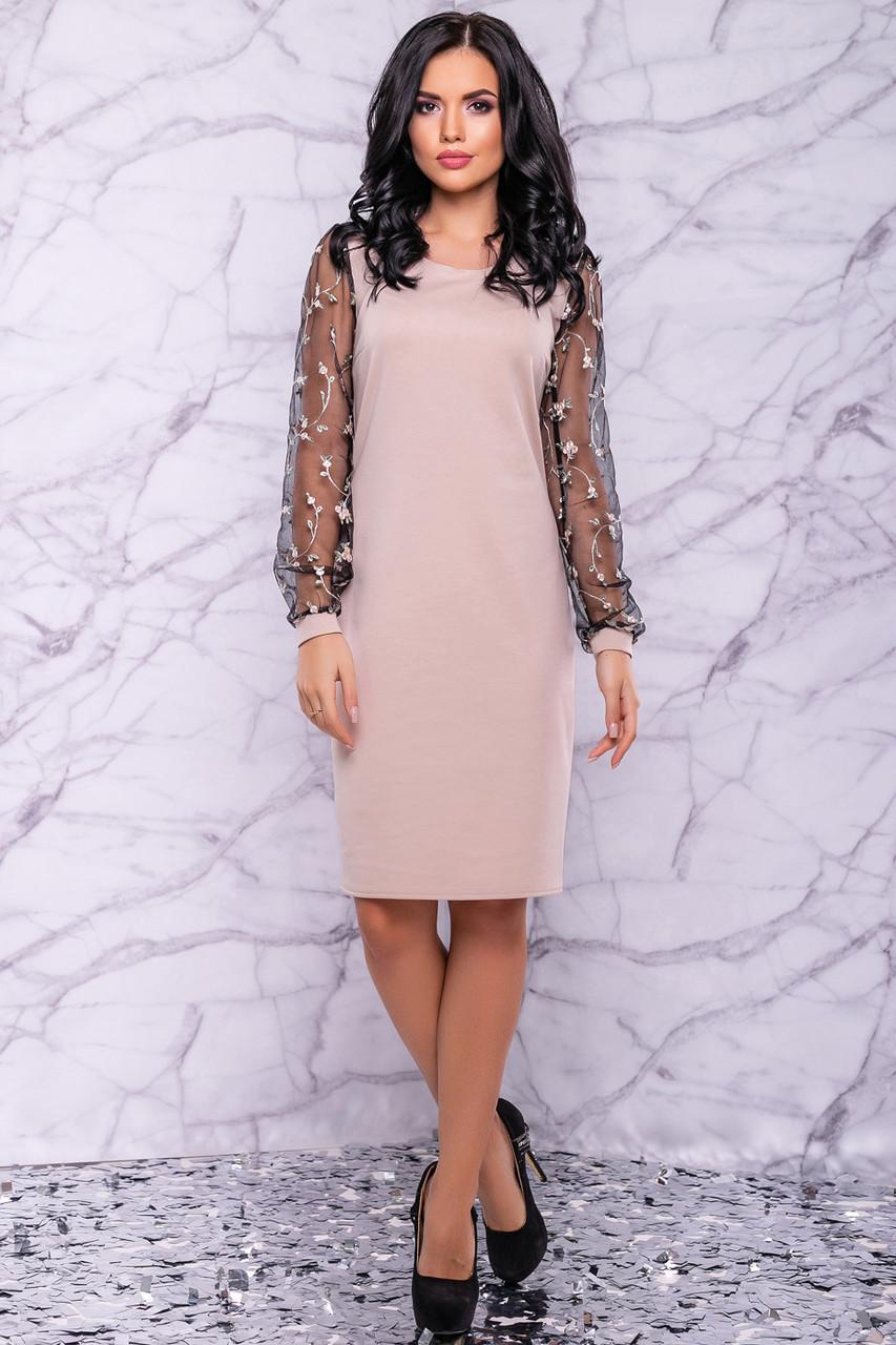 Женское нарядное платье с вышивкой цвет кофе