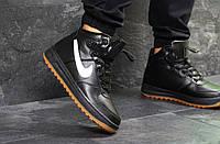 Кроссовки мужские Nike Air Force LF-1 зимние кожаные теплые на меху спортивные удобные (черные), ТОП-реплика, фото 1