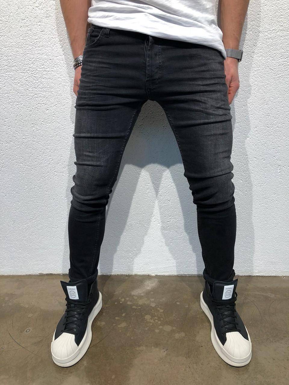 e8d68f20c2c Мужские джинсы зауженные черные с потертостями приталенные - Krossovki в  Киеве