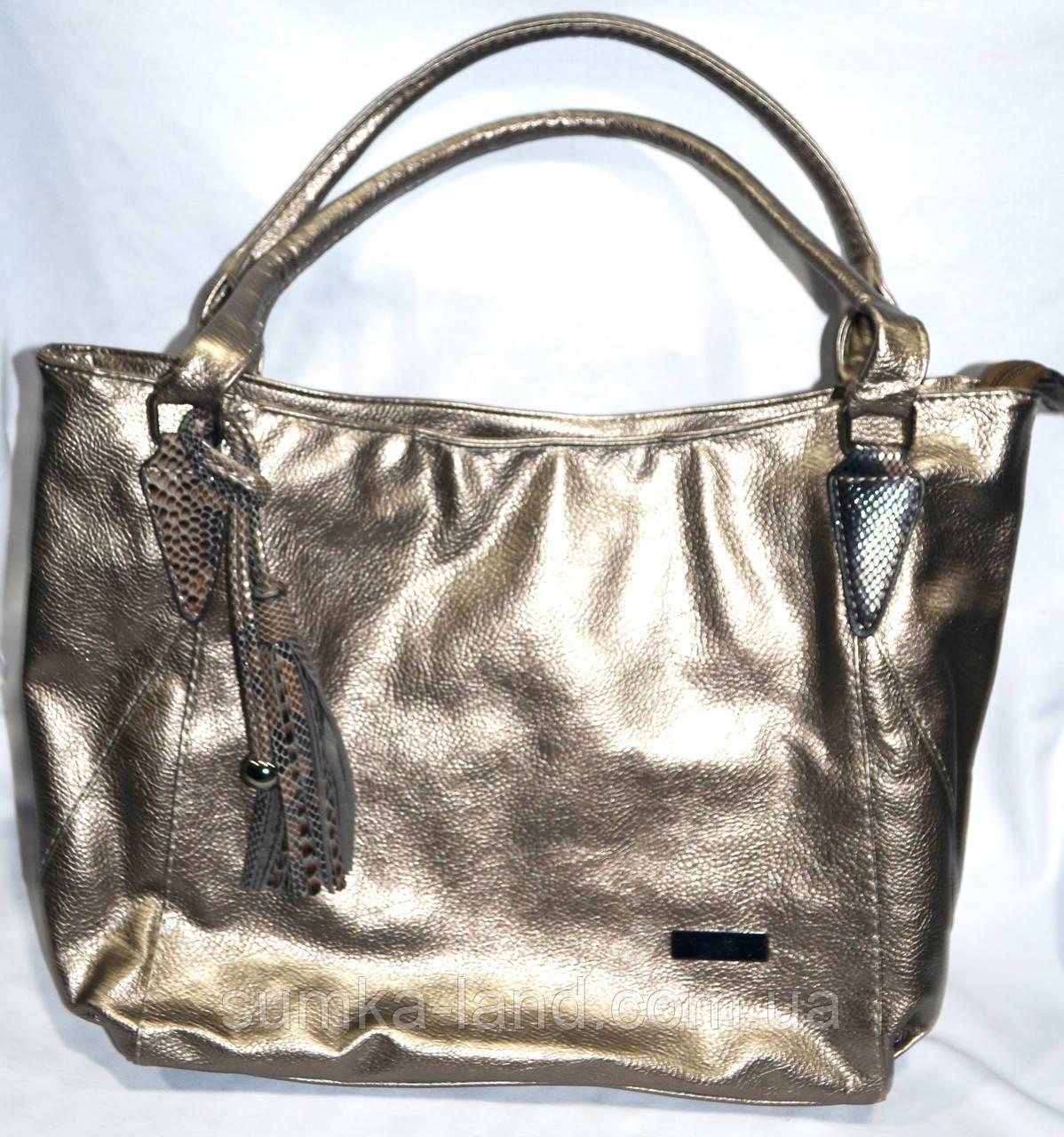 Женская сумка из искусственной кожи 33*27 см (золото)