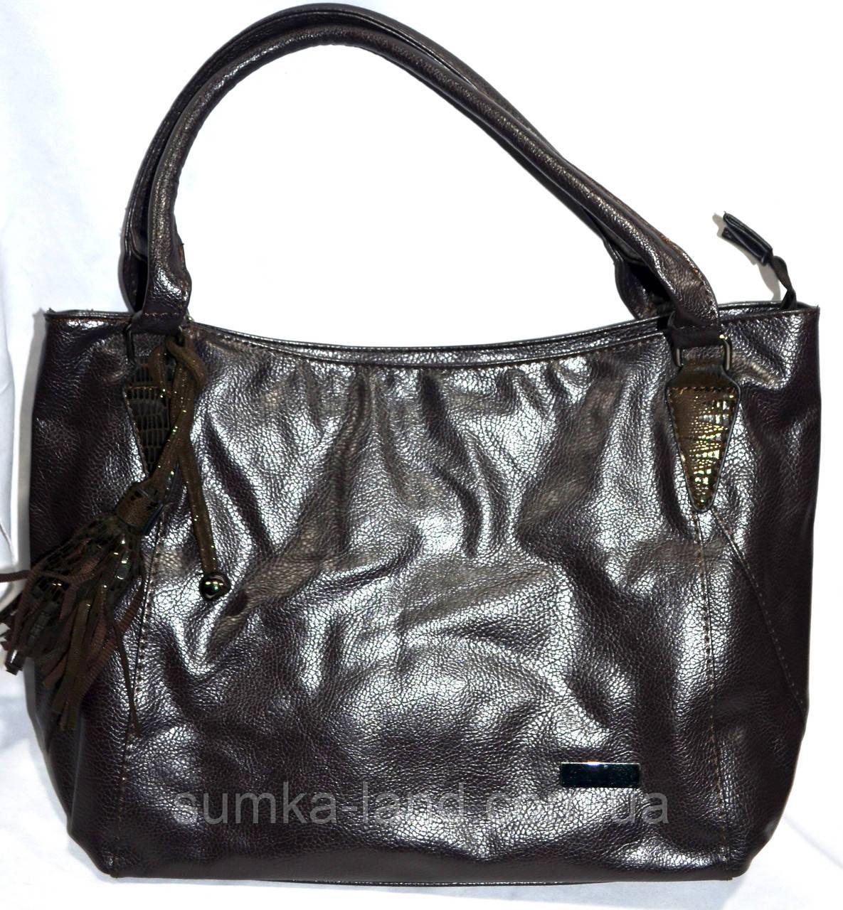 Женская сумка из искусственной кожи 33*27 см (каштан)
