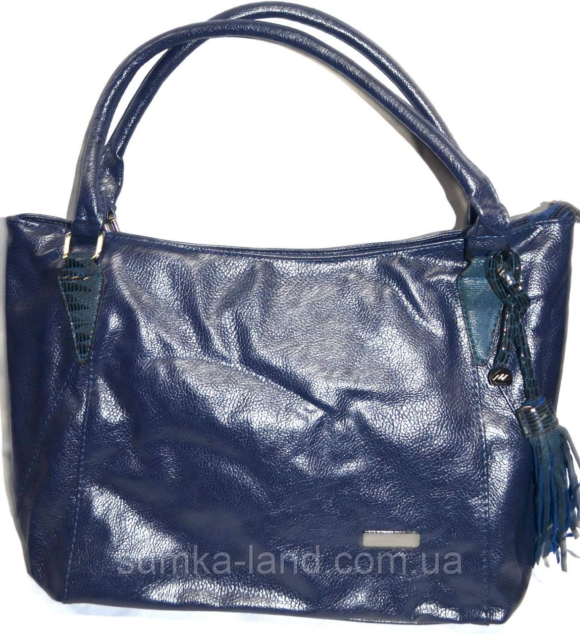 Женская сумка из искусственной кожи 33*27 см (синий)