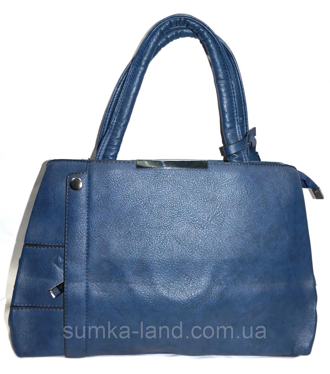 Женская синяя сумка из искусственной кожи на 2 отделения 33*24 см