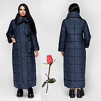 Женский зимний пуховик-одеяло F771167  Темно-синий, фото 1