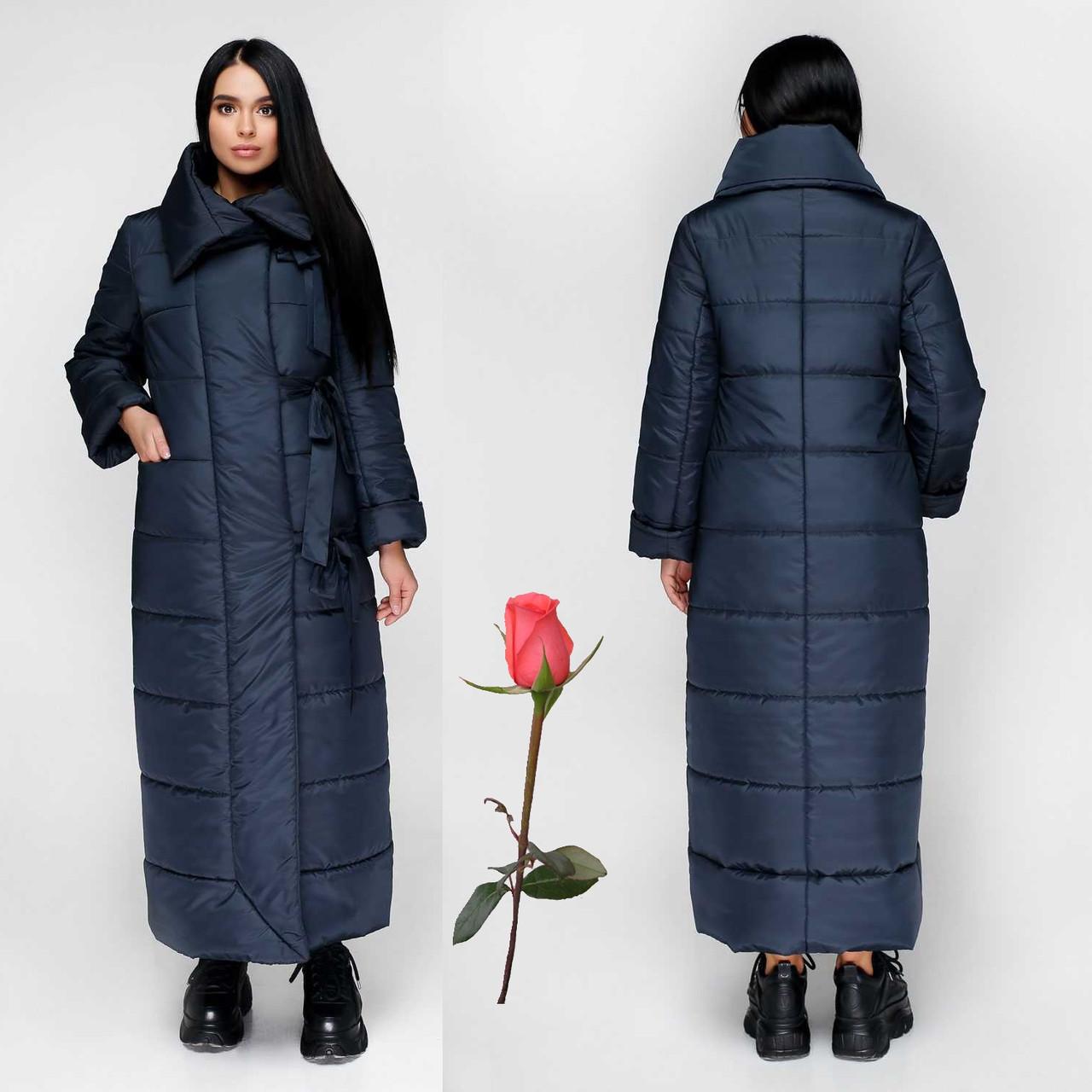 Женский зимний пуховик-одеяло F771167  Темно-синий
