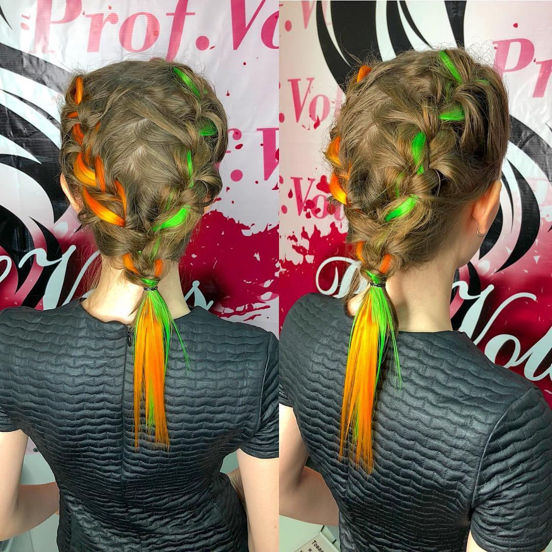 💕 Искусственные оранжевые пряди волос на заколках 💕