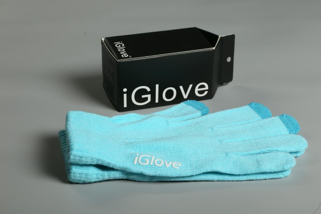 Перчатки iGlove для сенсорных устройств. Голубые (8 цветов в наличии) 90% - Акрил 8% - Спандекс 2% - Нанонить
