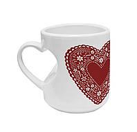 """Авторская чашка """"Бордовое сердце"""""""