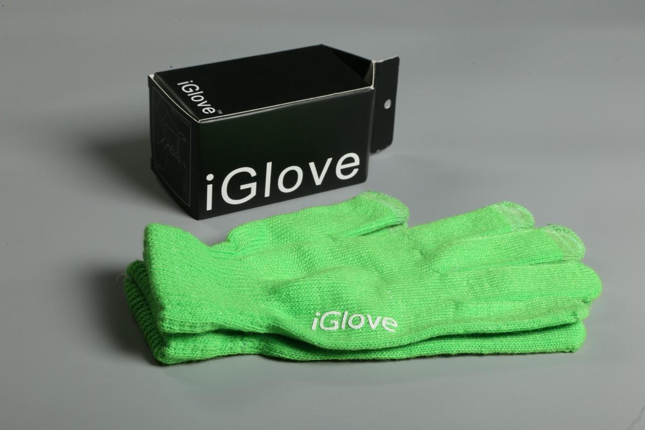 Перчатки iGlove для сенсорных устройств. Зеленые (8 цветов в наличии) 90% - Акрил 8% - Спандекс  2% - Нанонить