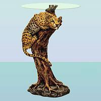 Журнальный стеклянный стол скульптура, журнальный столик Ягуар (А)