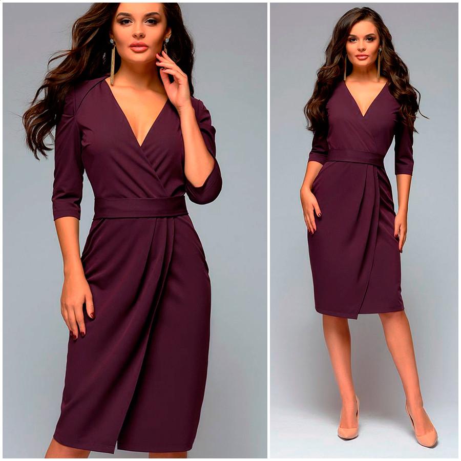 Платье с буфами цвета марсала Victoria (Код MF-406)