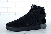 Мужскиезимние кроссовки adidas Tubular Invader Strap (в стиле Адидас) черные с мехом