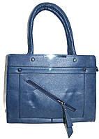 Женская синяя сумка из искусственной кожи 34*25 см, фото 1