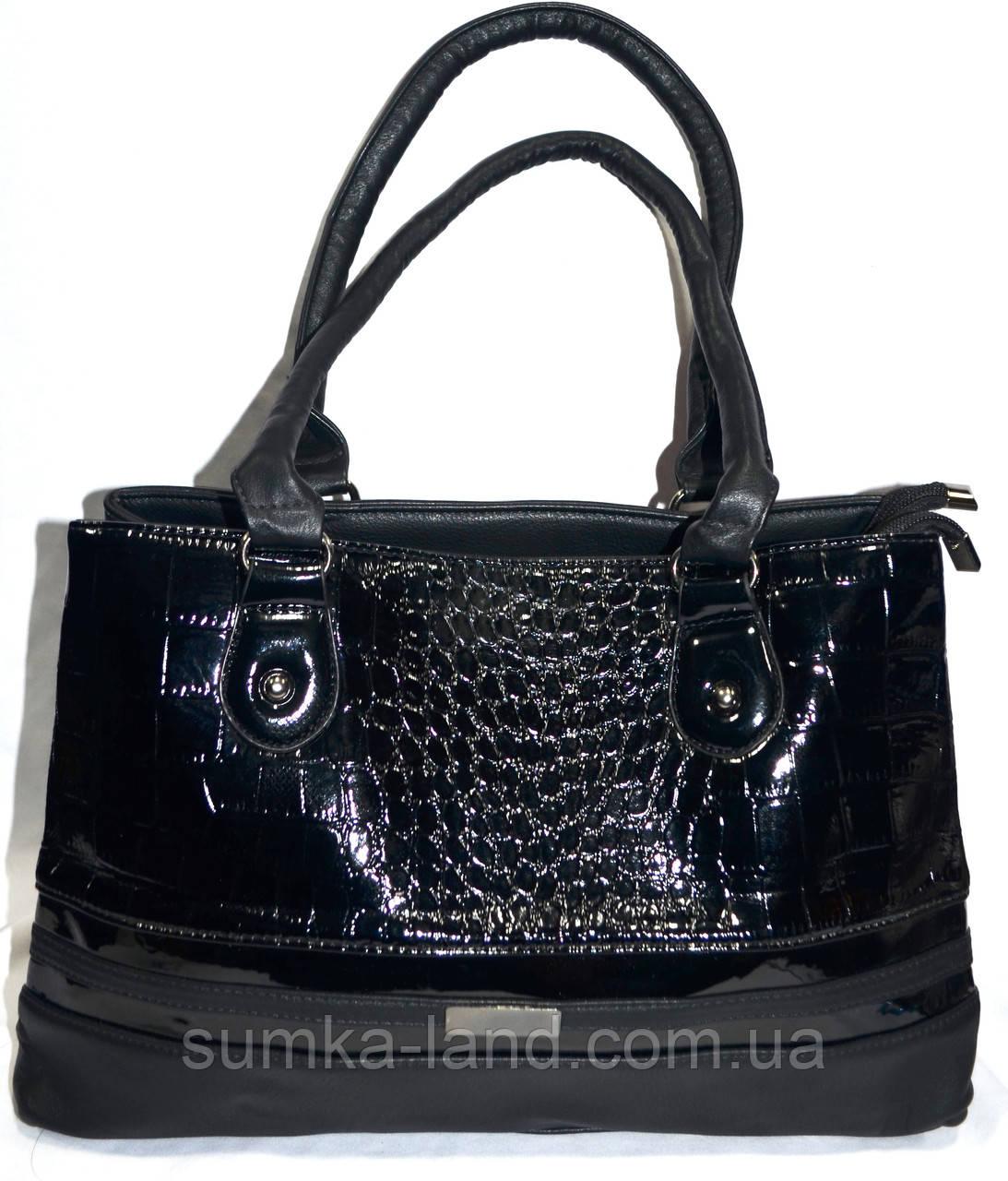 eb04777288a9 Женская черная лаковая сумка из искусственной кожи на 2 отделения 37*24 см