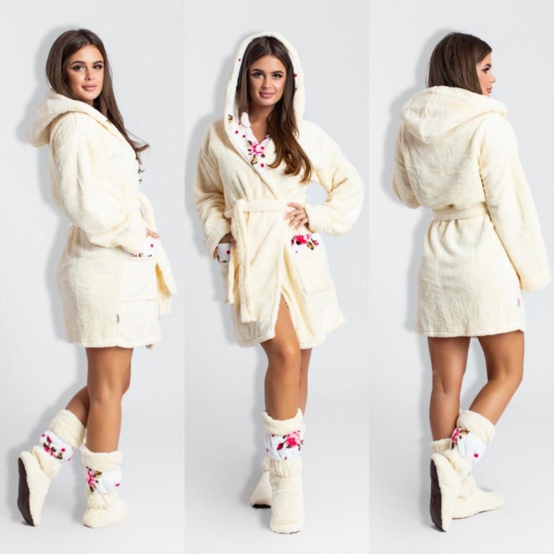 a72bf93d55959 Махровый комплект: халат с капюшоном и сапожки. Молочный. 5104 ER, цена 810  грн., купить в Одессе — Prom.ua (ID#815595300)