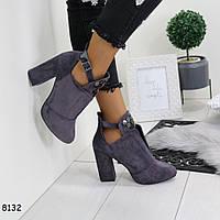 Ботильоны /Туфли женские замшевые на удобном каблуке и ремешке Серые, фото 1