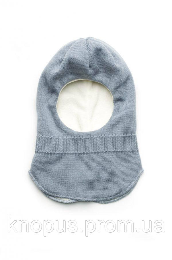 Зимняя вязаная шапка-шлем для мальчика на флисе, Модний карапуз, размер 48-50