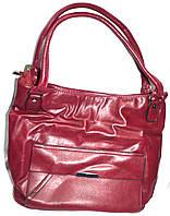 Женская бордовая сумка из искусственной кожи на 2 отделения 32*30 см, фото 1