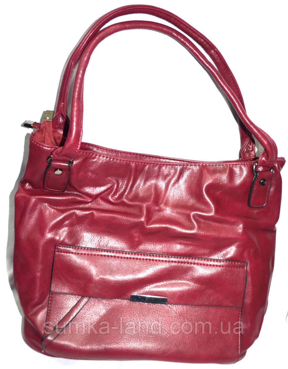 Женская бордовая сумка из искусственной кожи на 2 отделения 32*30 см