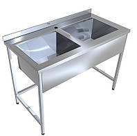Ванна моечная ВМ-2 14-7-40 двухсекционная нержавеющая (эконом)