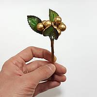 Ягода новогодняя с листьями золотая 17см