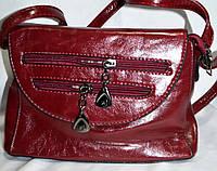 Женский масляный бордовый клатч из искусственной кожи 23*16 см, фото 1