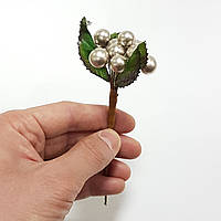 Ягода новогодняя с листьями серебро 17см
