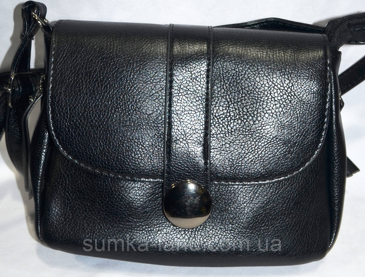 Женский черный клатч через плечо из искусственной кожи 21*17 см