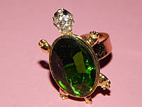 """Кольцо """"Черепашка"""", зеленый камень, размер регулируется 007140"""