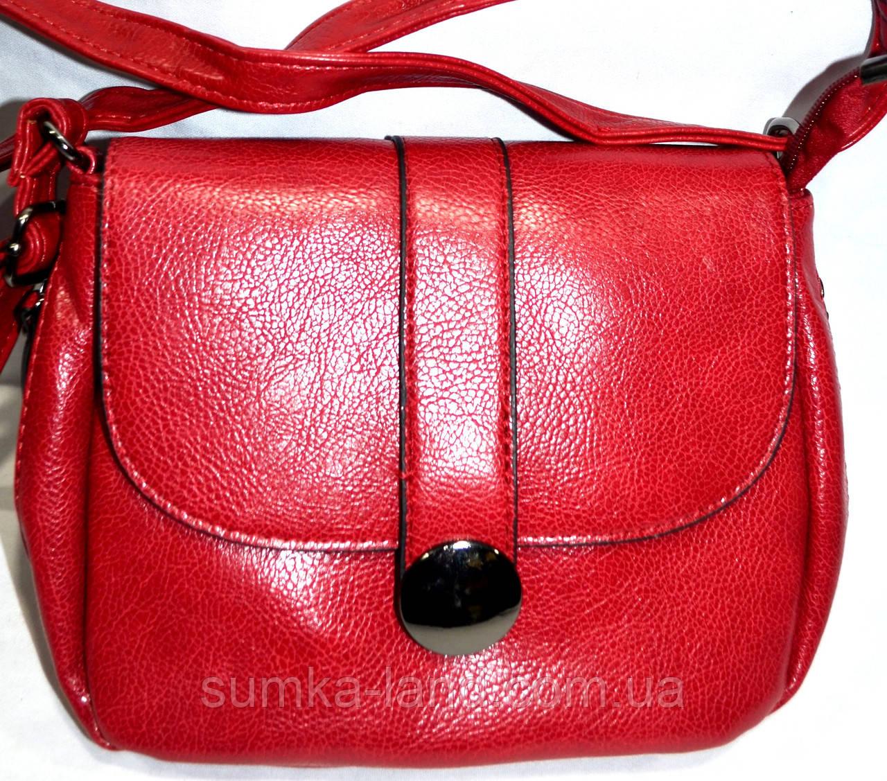 Женский красный клатч через плечо из искусственной кожи 21*17 см