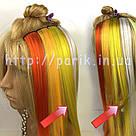 💛 Цветные пряди искусственных волос на заколках, желтые 💛, фото 4