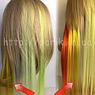 💛 Цветные пряди искусственных волос на заколках, желтые 💛, фото 6