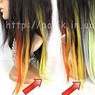 💛 Цветные пряди искусственных волос на заколках, желтые 💛, фото 8