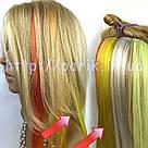 💛 Цветные пряди искусственных волос на заколках, желтые 💛, фото 5